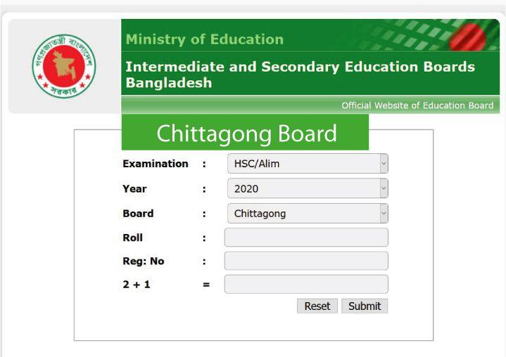 HSC Result Chittagong Board
